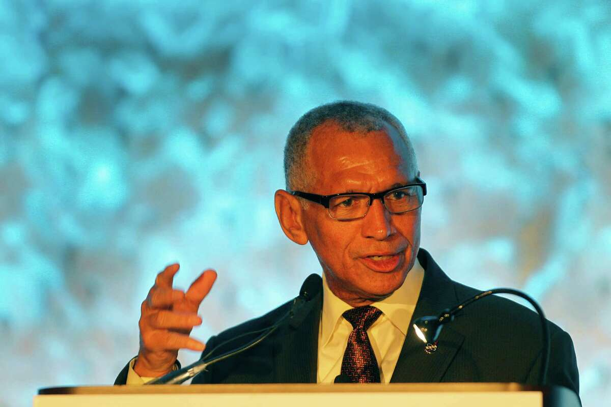 Maj. Gen. Charles Frank Bolden Jr., administrator of NASA, gives the keynote speech during SpaceCom Tuesday, Nov. 17, 2015, at the George R. Brown Convention Center in Houston.( Steve Gonzales / Houston Chronicle )