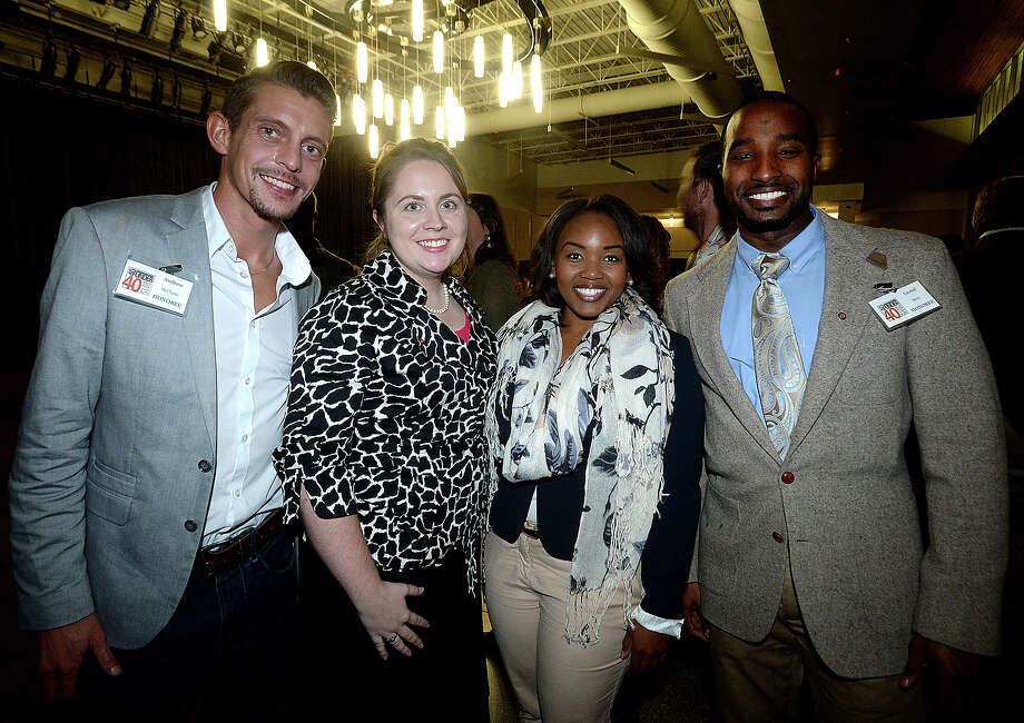 Andrew McClusky, Rebekah Maxwell, Yalanda Pollard, and Lionel Berry were at the Southeast Texas 40 Under 40 Awards ceremony. The event highlights 40 young professionals who are achieving success in the workplace as well as in community involvement.  Photo taken Tuesday, November 17, 2015 Kim Brent/The Enterprise Photo: Kim Brent / Beaumont Enterprise