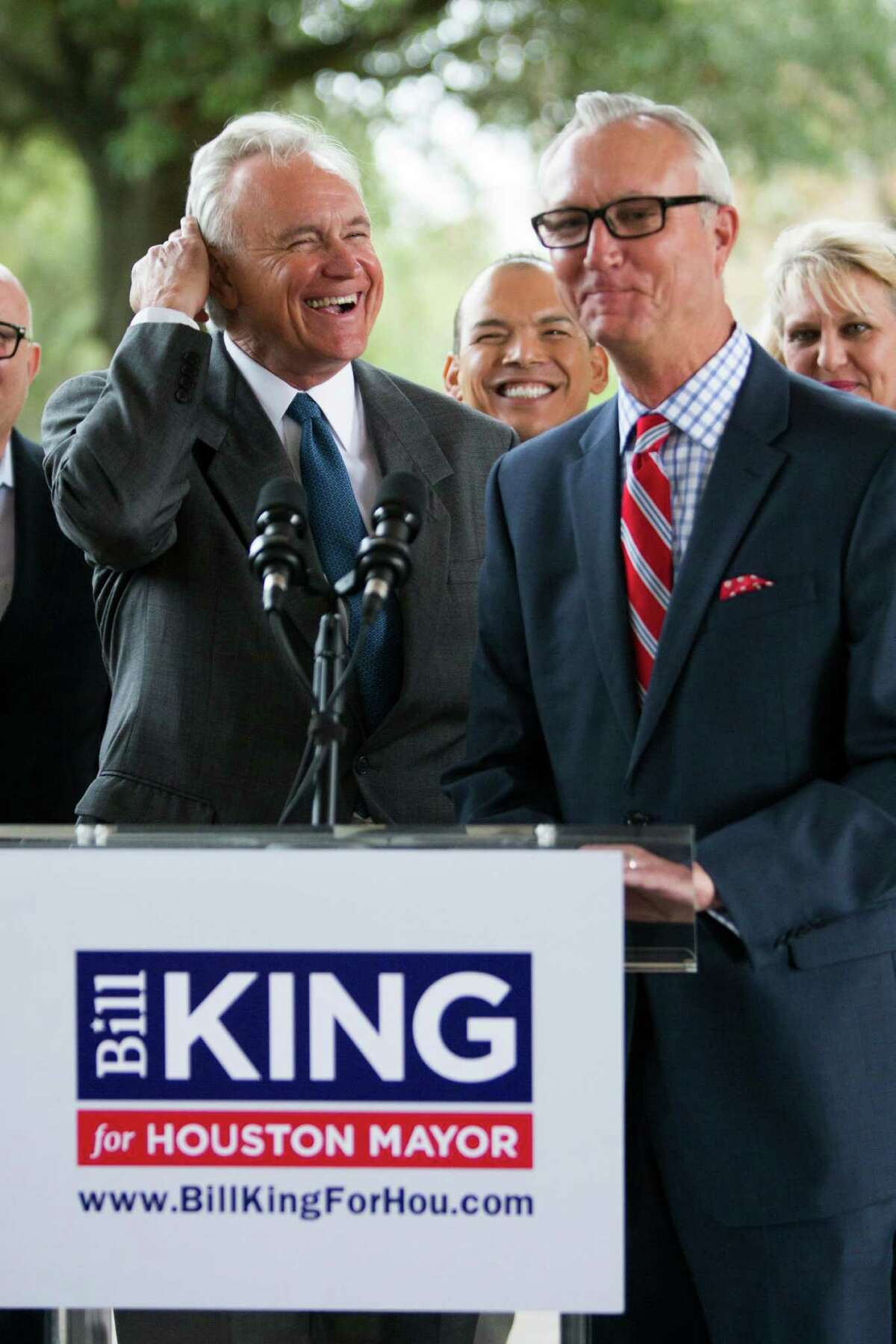"""Former candidate Chris Bell, right, stood with Bill King on Tuesday in Meyerland, saying, """"Truth be told, we agree much more than we disagree."""""""
