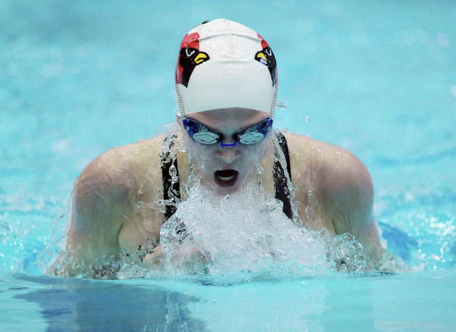 Kelly Montesi of Greenwich competes in the 200 IM event that she placed second in during the CIAC Class LL Swimming Championship at Southern Connecticut State University, New Haven, Conn., Tuesday, Nov. 17, 2015. Photo: Bob Luckey Jr. / Hearst Connecticut Media / Greenwich Time