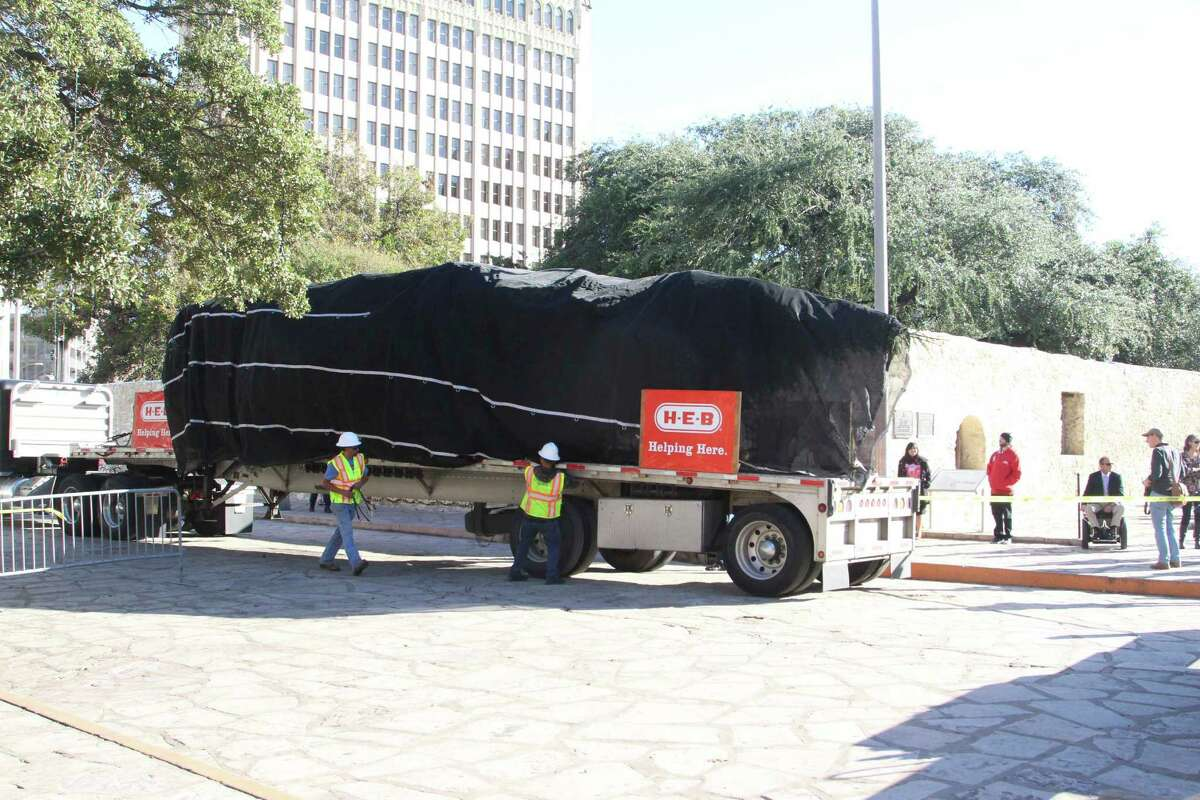 H-E-B donated a 55-foot White Fir Christmas tree to the Alamo Plaza Nov. 18, 2015, in preparation for the upcoming 31st annual H-E-B Tree Lighting Celebration.