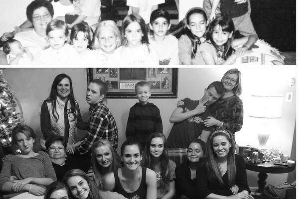 The cousins met at Aunt Maudean's house in Boerne in the summer on 2000. Now 14 years later they decided they wanted to have a reunion. They came from Allen, Austin and San Antonio Texas. Top (from left): Sue, Cecil, Andrew (not in bottom picture), Amy, Kyle, baby Emily, Aunt Maudean, Elizabeth, Amy Rose, Kristen, Catherine, John (not in bottom picture), Ashley, and Jessica. Bottom: Sue, Cecil, Ethan (stand in for Andrew), Kyle, Amy, Emily, Aunt Maudean, Elizabeth, Amy Rose, Kristen, Catherine, Sarah (she was not born yet in the original picture) Ashley, and Jessica.