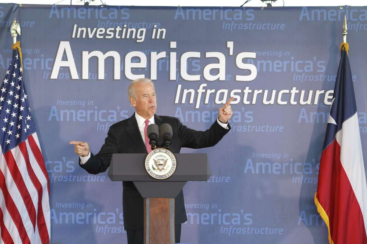 Vice President Joe Biden spoke about the importance of investing in America's infrastructure at an event in Houston, Wednesday, Nov. 18, 2015.