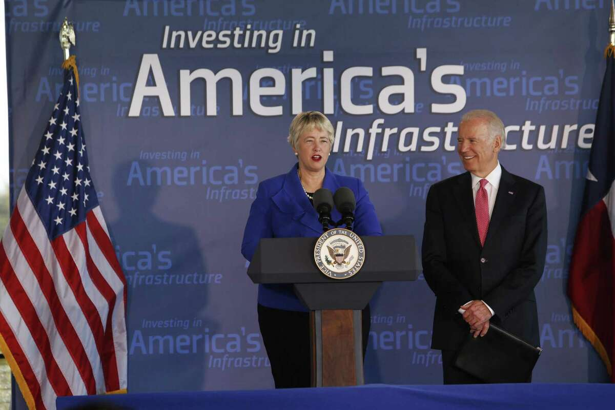 Vice President Joe Biden spoke about the importance of investing in America's infrastructure at an event in Houston, Wednesday, Nov. 18, 2015. He appears here with Mayor Annise Parker.