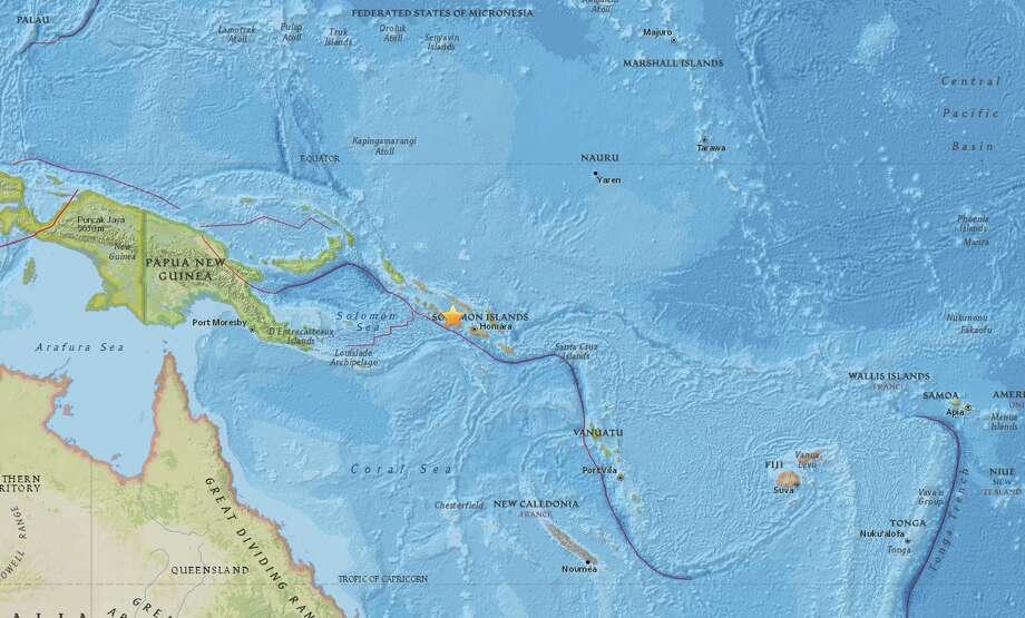 A magnitude-6.8 earthquake struck in the Solomon Islands on Wednesday, Nov. 18, 2015. Photo: USGS