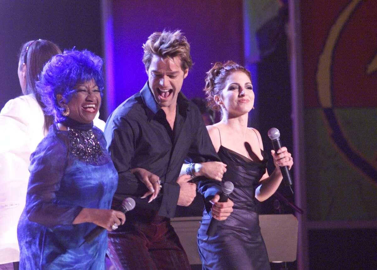 #1. Celia Cruz (left), Ricky Martin (center) and Gloria Estefan perform at the 1st Annual Latin Grammy Awards