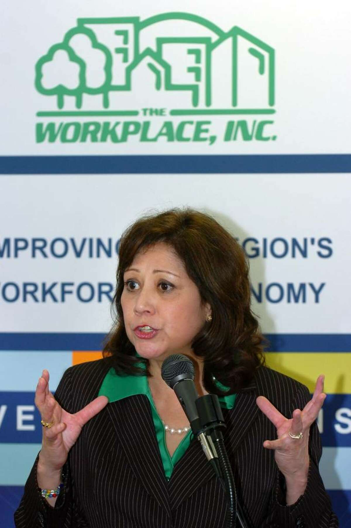 U.S. Secretary of Labor Hilda Solis speaks at The Workplace, Inc. in Bridgeport, Conn. Monday March 29th, 1010.