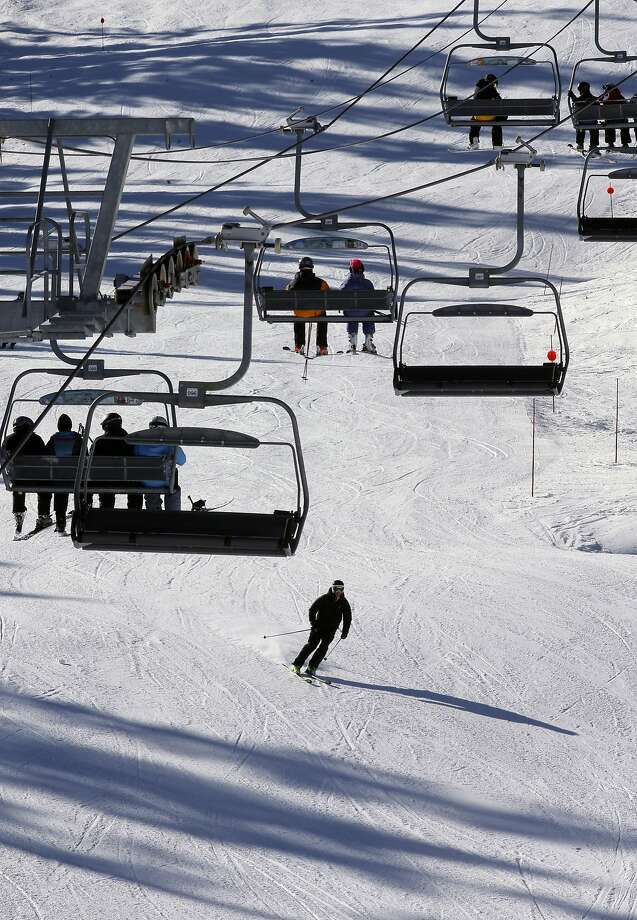 Skiing below the Comstock Express chair lift at the Northstar California Resort, in Truckee, Calif., on Wed. November 18, 2015. The resort opened six days earlier than normal on November 14 with the early snowfall and freezing overnight temperatures, which are continuing. Photo: Michael Macor, The Chronicle