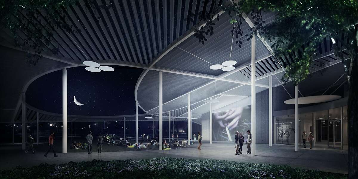 Manetti Shrem Museum of Art, event plaza (evening) - architects' rendering