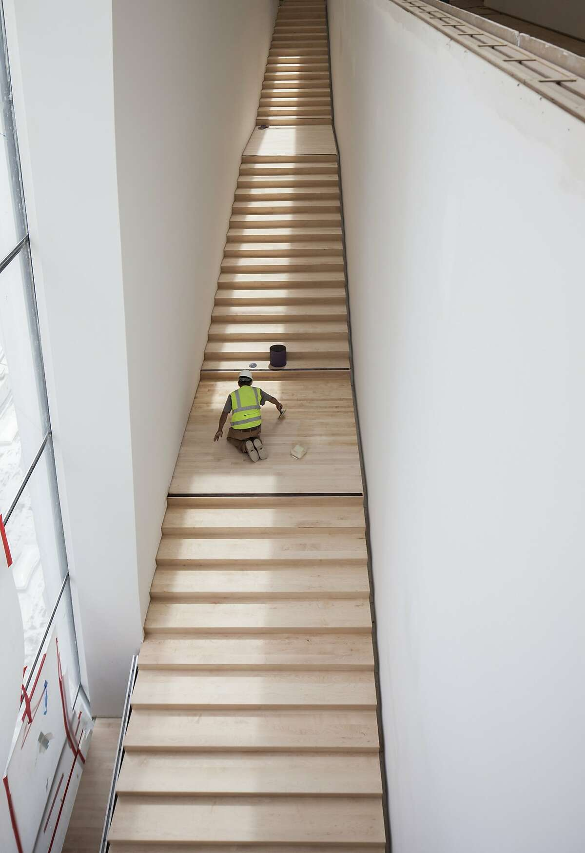 Workers put final touches on SFMOMA stairway