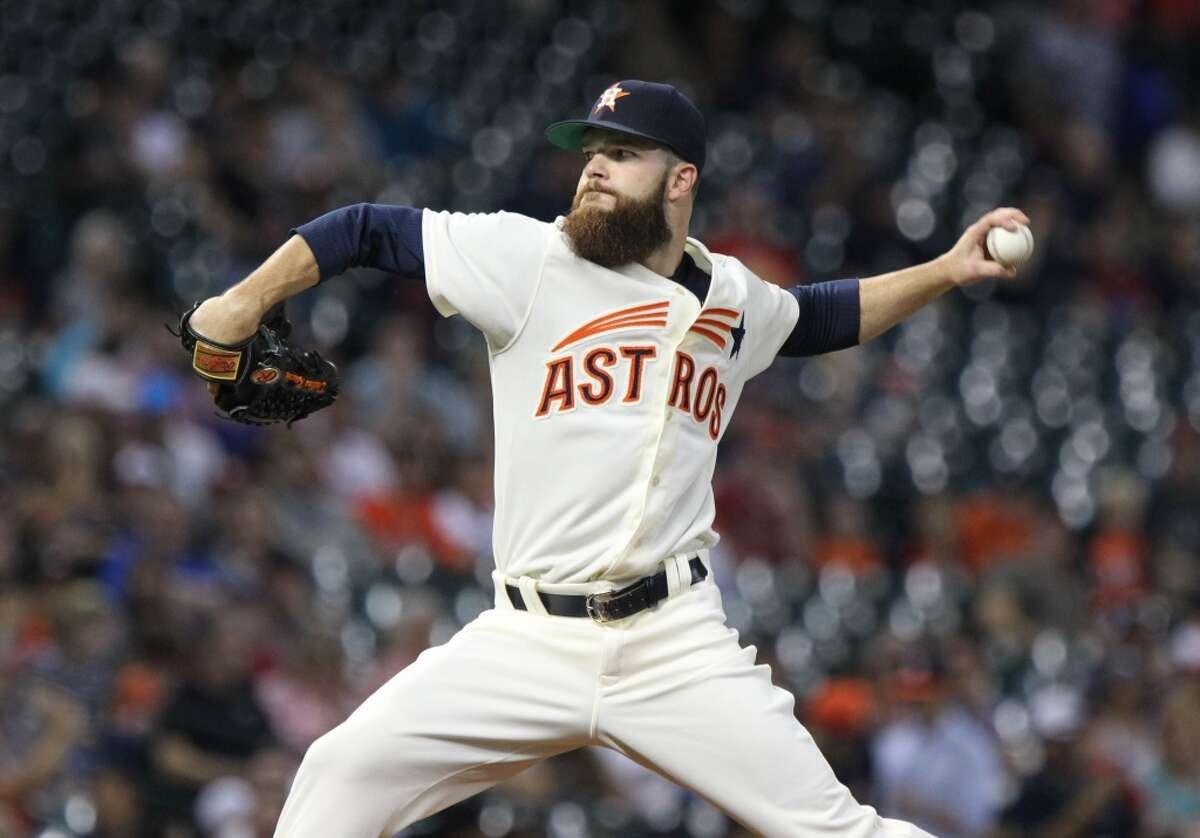#2 - April 18: Astros 4, Angels 0 Keuchel's line: 6 IP, 2 hits, 3 BB, 0 ER, 7 SO