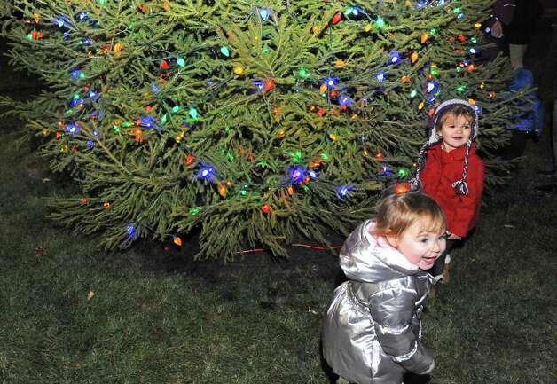 Two-year-olds Kennedy O'Keefe of Albany and Whitley Miller of Malta, right, enjoy the holiday tree lighting ceremony at Stuyvesant Plaza on Wednesday Nov.18, 2015 in Albany, N.Y.  (Michael P. Farrell/Times Union) Photo: Michael P. Farrell / 10034313A