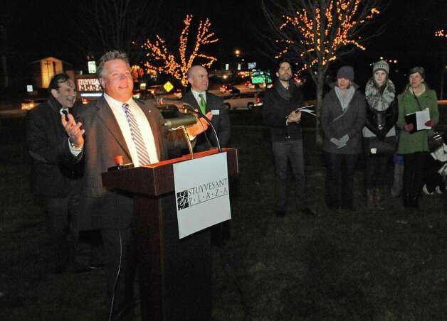 Albany County Executive Dan McCoy speaks as Stuyvesant Plaza held their first holiday tree lighting ceremony on Wednesday Nov.18, 2015 in Albany, N.Y.  (Michael P. Farrell/Times Union) Photo: Michael P. Farrell / 10034313A