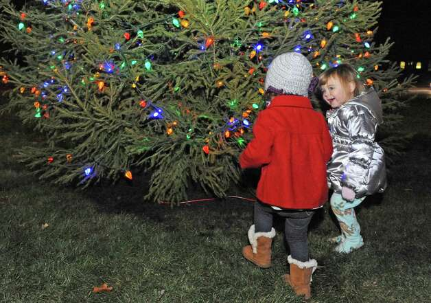 Two-year-olds Whitley Miller of Malta and Kennedy O'Keefe, right, of Albany enjoy the holiday tree lighting ceremony at Stuyvesant Plaza on Wednesday Nov.18, 2015 in Albany, N.Y.  (Michael P. Farrell/Times Union) Photo: Michael P. Farrell / 10034313A