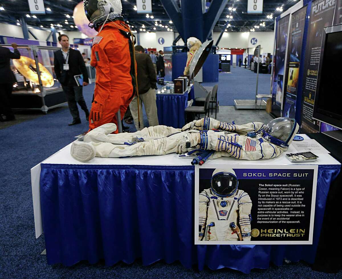 A Sokol space suit during the Spacecom Space Commerce Conference and Exposition at George R. Brown Convention Center Wednesday, Nov. 18, 2015, in Houston. ( James Nielsen / Houston Chronicle )