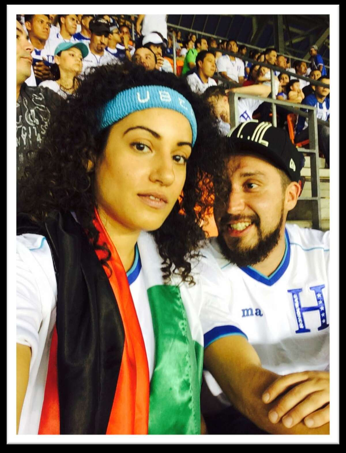 Caption: Palestinian-American Buthayna Hammad, 30, was attending the Honduras vs. Israel game in June at BBVA Compass Stadium with her boyfriend and his family when security officials and police officers allegedly forbid her from waving the Palestinian flag. Credit: Buthayna Hammad