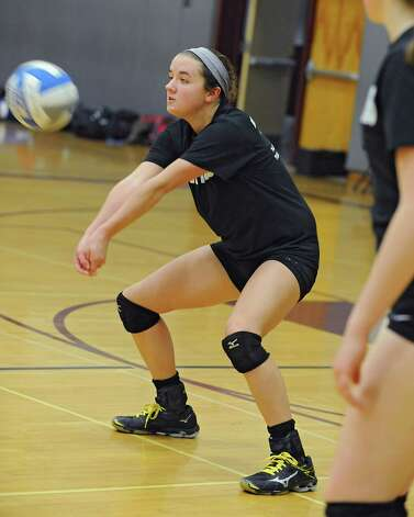 Burnt Hills libero Kate Isaksen hits the ball as teams from Section ll scrimmage in preparation for Saturday's girls' volleyball state semifinal Wednesday, Nov. 18, 2015 in Burnt Hills, N.Y.  (Lori Van Buren / Times Union) Photo: Lori Van Buren / 10034317A