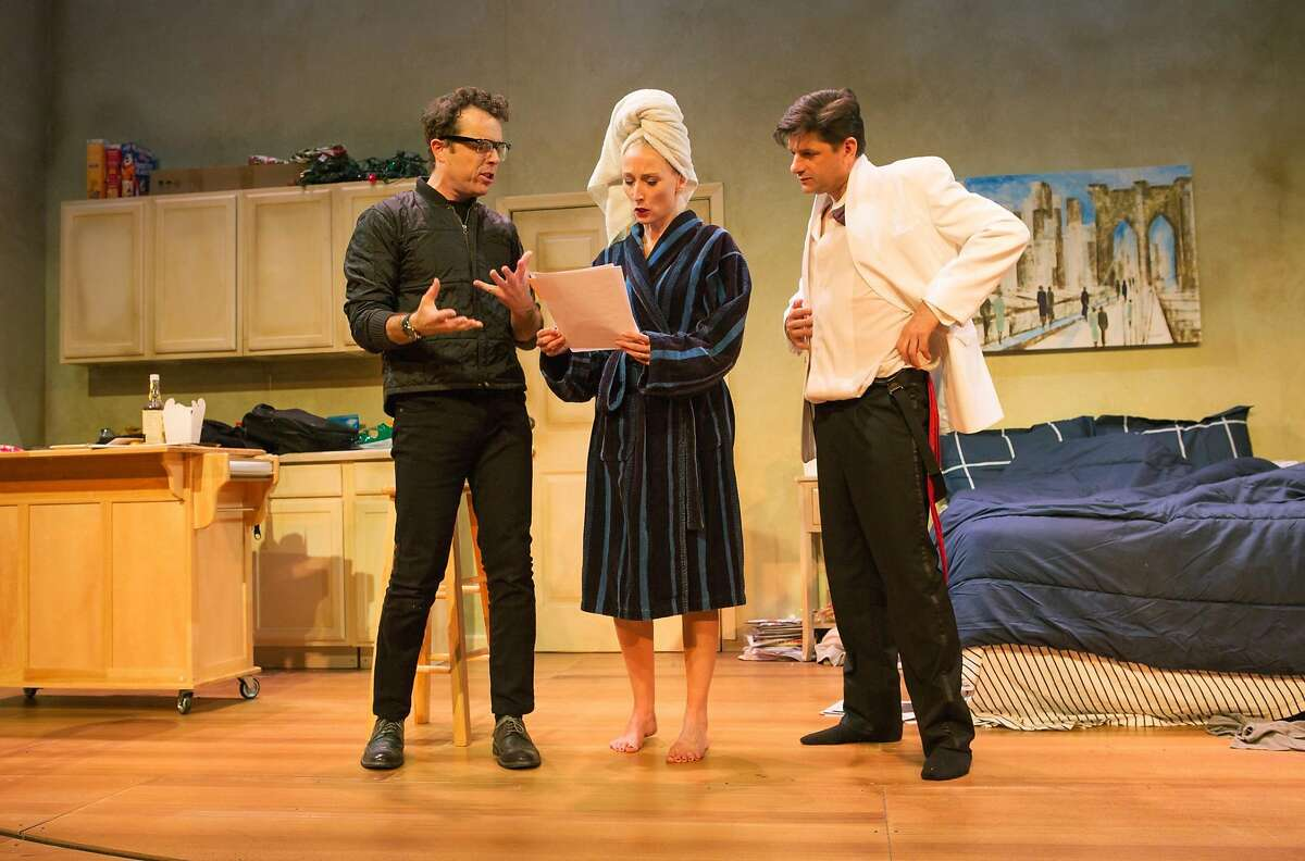 """The Director (Mark Anderson Phillips, left) gives notes to She (Carrie Paff) and He (Gabriel Marin) in """"Stage Kiss"""" at San Francisco Playhouse"""