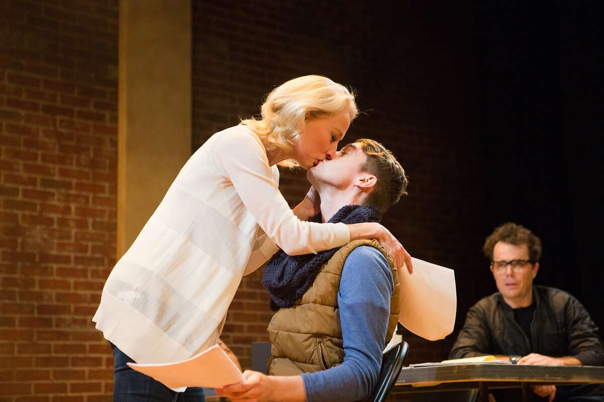 """She (Carrie Paff, left) auditions with understudy Kevin (Allen Darby) as Director (Mark Anderson Phillips) observes in """"Stage Kiss"""" at San Francisco Playhouse"""