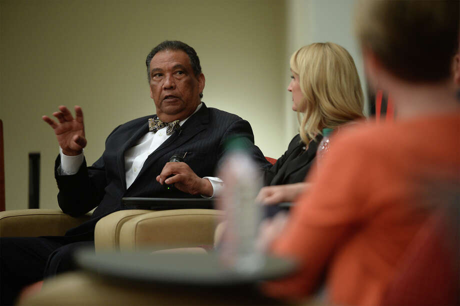 State Representative Joe Deshotel talks about responding to Hurricane Rita during a panel discussion about the storm at Lamar University on Tuesday.   Photo taken Monday, September 22, 2015 Guiseppe Barranco/The Enterprise Photo: Guiseppe Barranco, Photo Editor