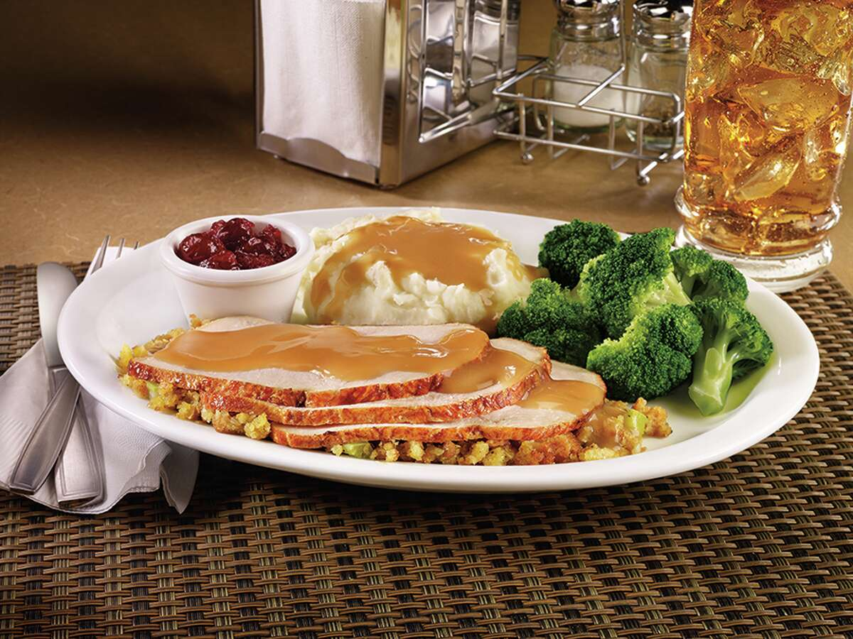Denny's has you covered day and night on Thanksgiving Day. In addition to its regular menu, the 24-hour chain is offering Pumpkin Pecan Pie Pancake Breakfast ($7.49-$7.69) and a traditional plate of turkey and dressing ($9.49-$9.99). Find the nearest location at dennys.com.