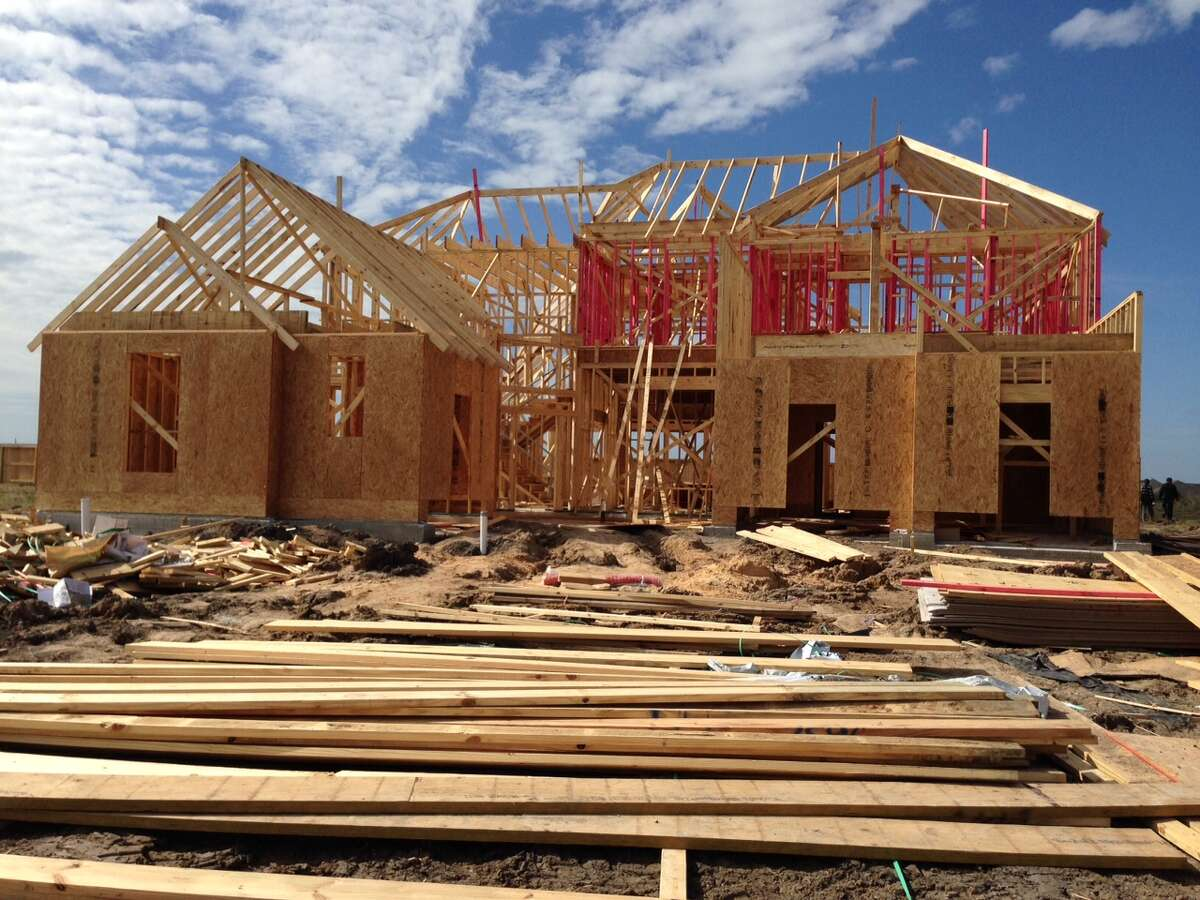 A house by Ashton Woods under construction in the Southern Trails neighborhood in Pearland.