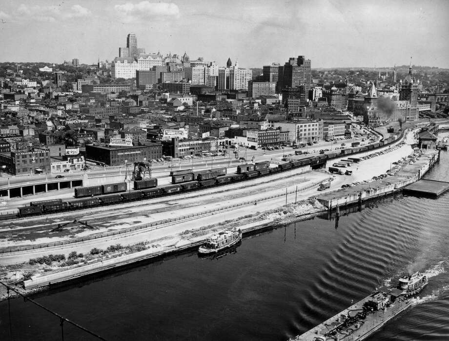 Click through the slideshow for historical photos of Albany's riverfront. Albany skyline and Hudson River, 1950s or 1960s, Albany, N.Y. (Times Union archive)