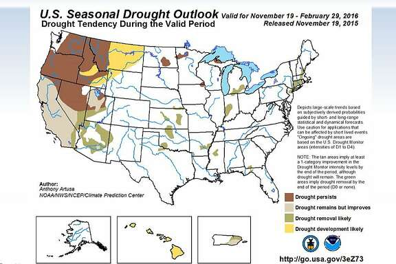 Federal forecasters said Thursday, Nov. 19, that the El Nino weather pattern will likely provide some relief to California's four-year drought this winter.