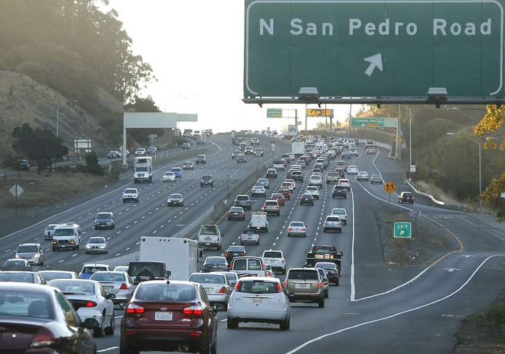 Southbound traffic slows to a crawl on Highway 101 near the Marin Civic Center in San Rafael, Calif. on Thursday, Nov. 19, 2015.