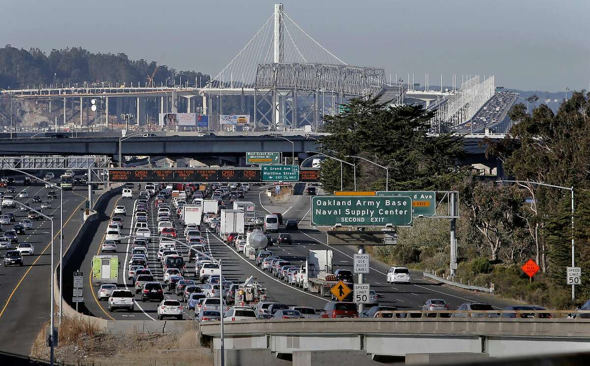 The morning commute traffic backed up on the I-580 freeway approach to the Bay Bridge, in Oakland, Calif., on Thurs. November 19, 2015.