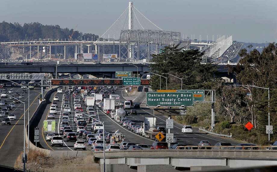 The morning commute traffic backed up on the I-580 freeway approach to the Bay Bridge, in Oakland, Calif., on Thurs. November 19, 2015. Photo: Michael Macor, The Chronicle