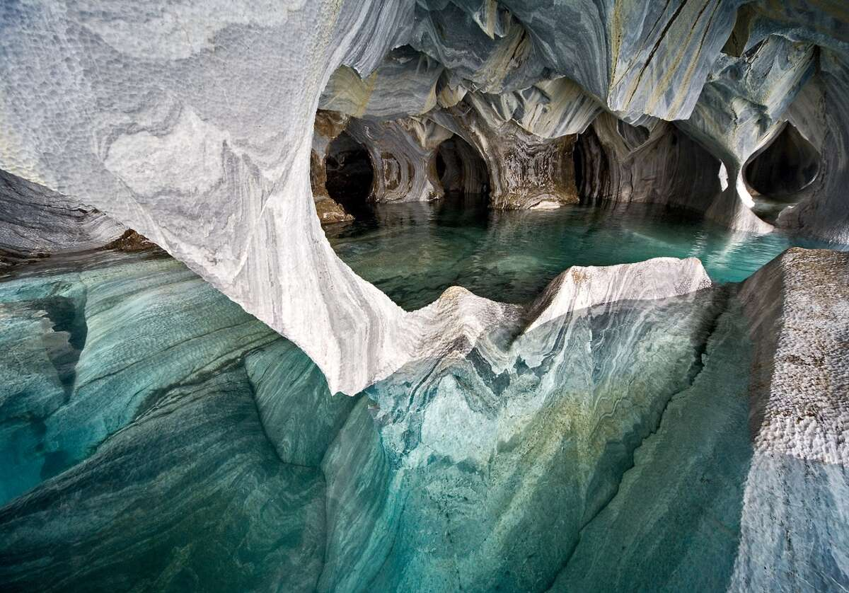 A view of the Marble Cathedral on Lake Carrera in Patagonia, Chile.