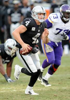 Oakland Raiders quarterback (4) Derek Carr on the run during a game against the Minnesota Vikings played at O.co Coliseum in Oakland, Calif. on Sunday, Nov. 15, 2015. (AP Photo/John Cordes)