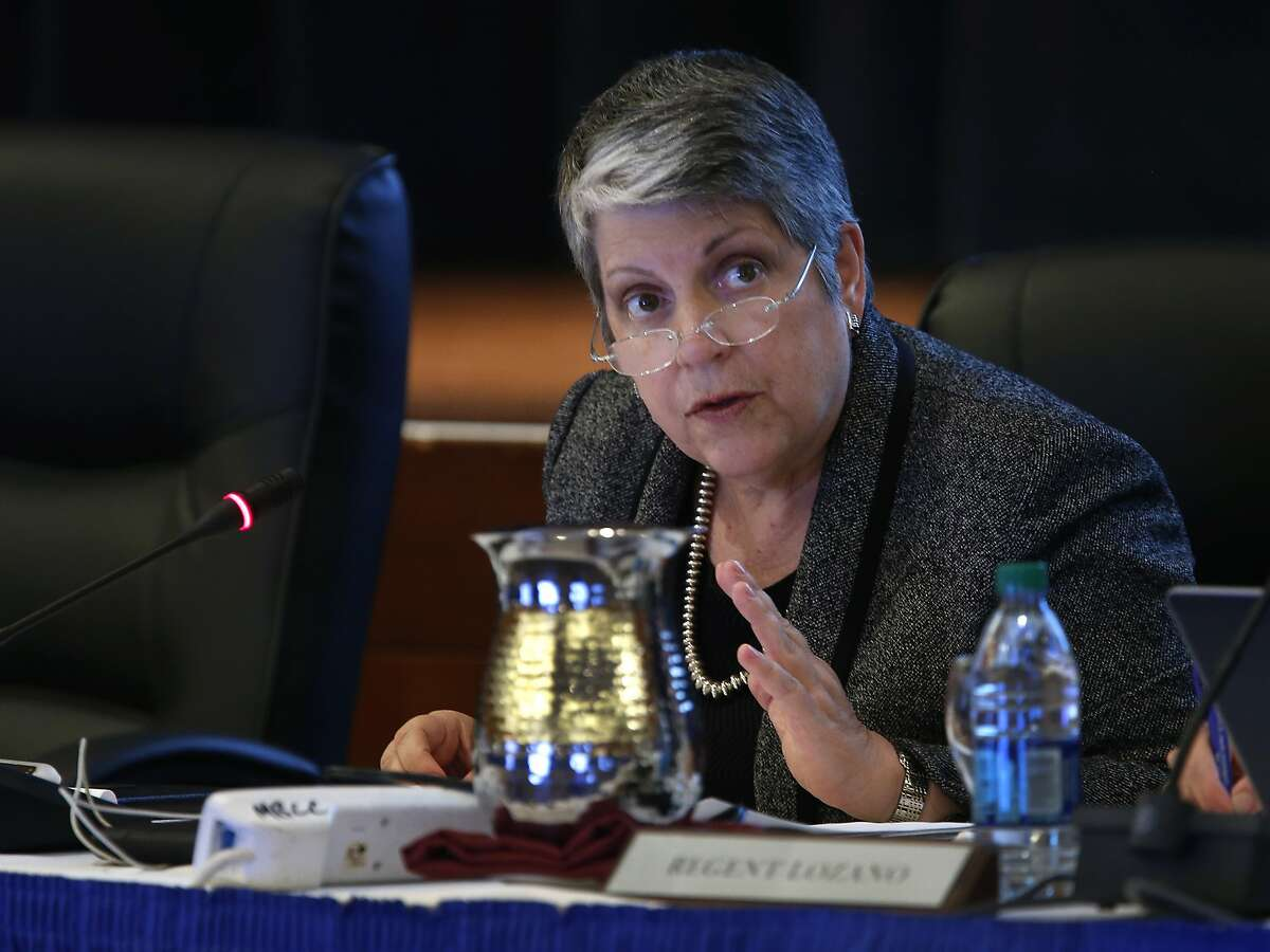 UC President Janet Napolitano speaks during a meeting of the Board of Regents at the UCSF Mission Bay campus to discuss a three-year financial stability plan in San Francisco, Calif. on Thursday, Nov. 19, 2015.