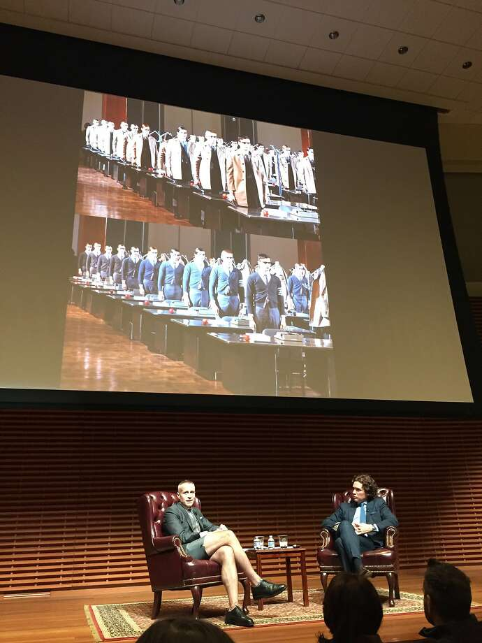 Fashion designer Thom Browne appeared in conversation with Jay Fielden, editor-in-chief of Town & Country magazine, as the latest installment of the Fashion at Stanford series, on Nov. 18, 2015, at Cemex Auditorium on campus. Photo: Carolyne Zinko, San Francisco Chronicle
