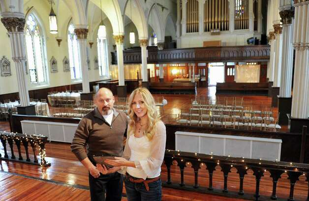 Dan and Jennifer O'Neill in The Venue at St. Joseph's, their renovated church now an event space Wednesday Nov. 11, 2015 in Cohoes, NY.  (John Carl D'Annibale / Times Union) Photo: John Carl D'Annibale / 00034138A