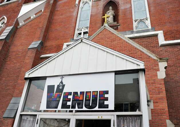 Entrance to Dan and Jennifer O'Neill's The Venue at St. Joseph's, a renovated church now an event space Wednesday Nov. 11, 2015 in Cohoes, NY.  (John Carl D'Annibale / Times Union) Photo: John Carl D'Annibale / 00034138A