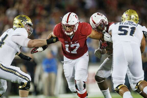 Stanford, CA - Thursday October 15, 2015: Brennan Scarlett during the Stanford UCLA game Thursday night at Stanford Stadium...Stanford won 56-35...