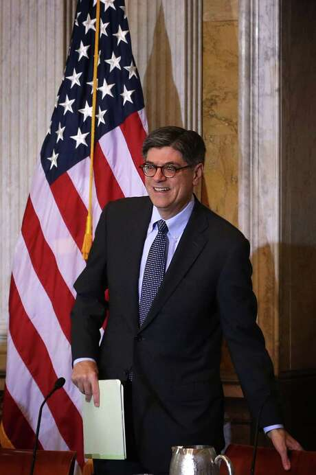 """WASHINGTON, DC - NOVEMBER 18:  U.S. Secretary of the Treasury Jacob Lew takes his seat as he arrives at a meeting of the Financial Literacy and Education Commission at the Treasury Department November 18, 2015 in Washington, DC. The FLEC held a meeting on """"how to prepare more Americans to plan and take action for long-term financial goals such as retirement.""""  (Photo by Alex Wong/Getty Images) Photo: Alex Wong, Staff / 2015 Getty Images"""