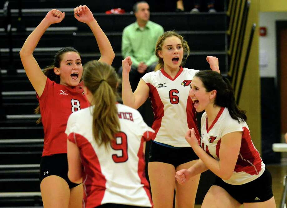 Greenwich celebrates its win over Southington in Class LL Girls Volleyball Semi-finals action in Trumbull, Conn. on Thursday. Photo: Christian Abraham / Hearst Connecticut Media / Connecticut Post
