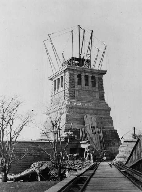 FILE--The pedestal for the Statue of Liberty, designed by Richard Morris Hunt, during its construction March 6, 1886.  Long before Morris Hunt designed the pedestal and others for statues in Washington, he learned something about stonework as one of the first Americans nearly 150 years ago to view the ruins of ancient Egypt. Photo: AP / AMERICAN INST OF ARCHITECTS