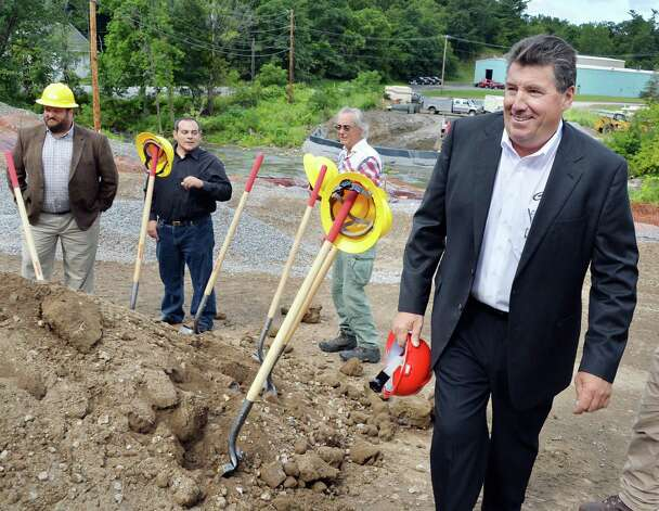 Carver Laraway, right, owner of the Port of Coeymans during ground breaking ceremonies for a new bridge over the Coeymans Creek near the Port of Coeymans Thursday August 14, 2014, in Coeymans, NY. The town has thrown out a bid from Laraway amid allegations of impropriety involving Flach.  (John Carl D'Annibale / Times Union archive) Photo: John Carl D'Annibale / 00028173A