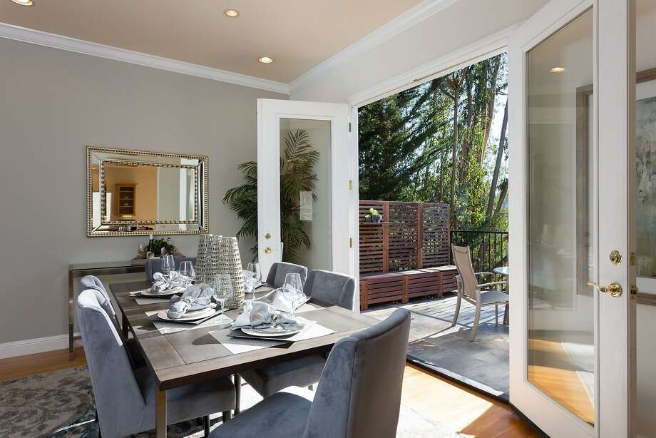 Dual doors off the dining room open to a slate balcony. Photo: Liz Rusby/the Grubb Co.