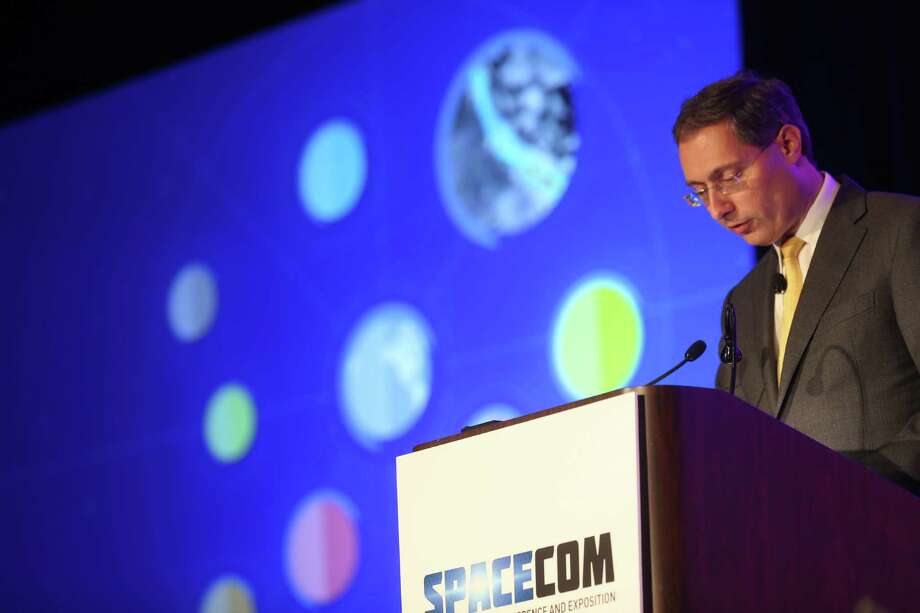 "Yuri Sebregts, Royal Dutch Shell's top technology executive, addresses the SpaceCom conference Thursday. He advises the oil industry to look outside for technology ""that might solve your particular challenge."" Photo: Elizabeth Conley, Staff / © 2015 Houston Chronicle"
