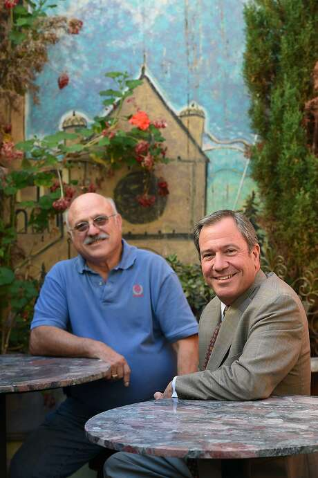Alberto Cipollina (left) and Mario Alioto pose for a photo in the outdoor patio seating of what will become the US Original Restaurant in San Francisco on November 20, 2015. They are reopening the restaurant in December at 414 Columbus Avenue. Photo: Susana Bates, Special To The Chronicle
