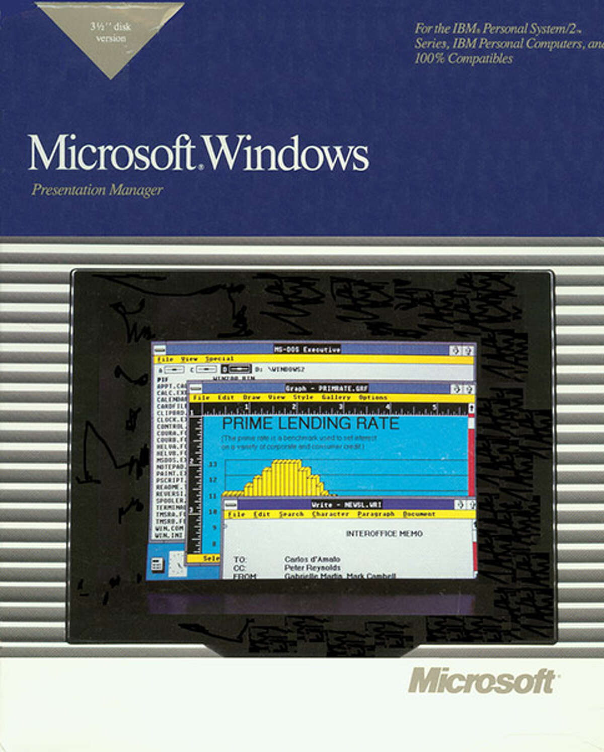 Windows 2 (1987) continues to refine the operating system, which sits atop MS-DOS, and this version is designed to work on the spiffy new Intel 286 processor.