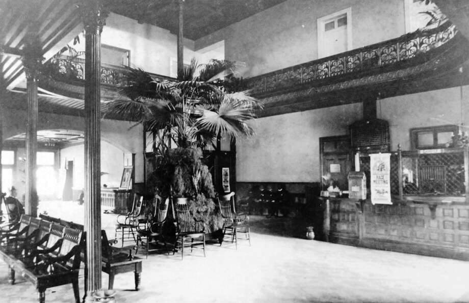 This historic image of the Menger Hotel shows the original lobby as it looked in 1859. Click through for a star-studded haunting tour of this San Antonio icon. Photo: Photos Courtesy Of The Menger Hotel.