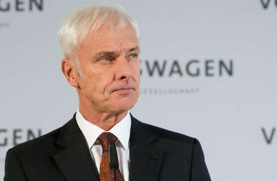 CEO Matthias Mueller: Volks wa gen will trim its spen ding. Photo: Julian Stratenschulte, Associated Press