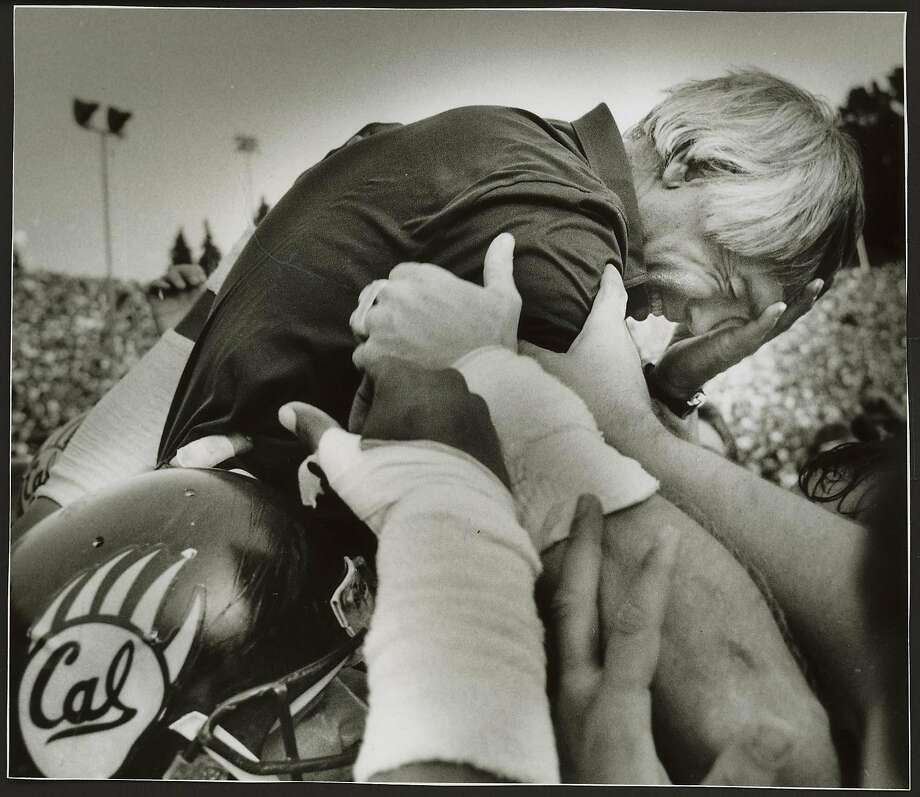 Joe Kapp is in tears while being carried off the field by his players after the 1986 Big Game. Photo: Frederic Larson