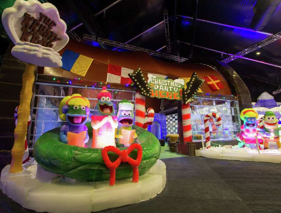 The Ice Land Ice Sculptures with SpongeBob Squarepants at Moody Gardens included the Krusty Krab in 2015. Photo: Moody Gardens